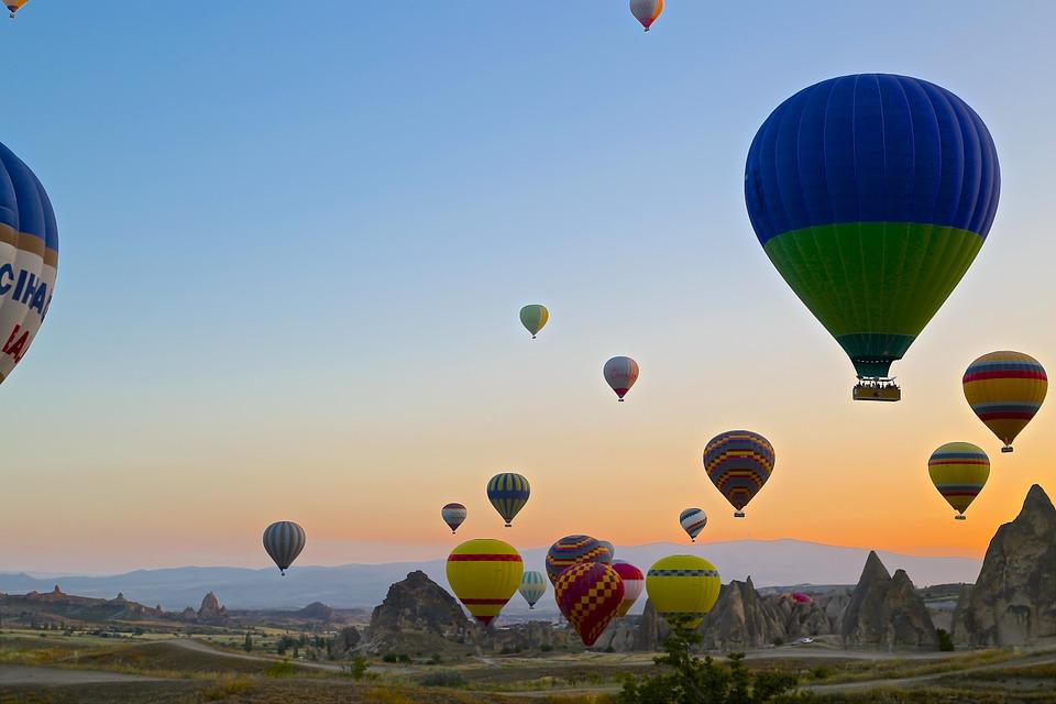 Travel Turkey Balloons Cappadocia Valley Landscape